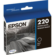 New Sealed Epson 220 Ink Cartridge Black Standard DURABrite Ultra T220120-S Box