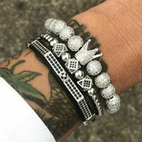 3Pcs/set Luxury Men Silver Crown Pave CZ Crown Bead Braided Bracelet Set Jewelry