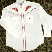 Vtg Ely Diamond Mens XL Western Shirt White Embroidered Roses Pearl Snap Rodeo