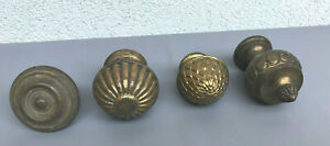Antique French Victorian Four Brass Round Door Knobs Handles