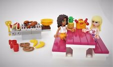 NEW LEGO Friends Lot Food BBQ Picnic Hot Dogs Pretzel Fruit Plates Cups   4E5