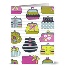 24 Note Cards - Girly Purses - Hot Pink Envs