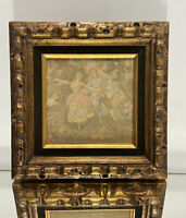 VTG. Gold Gilt Mid Century Wood Picture Frame w/ A Tapestry Wall Art Decor.