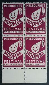 1958 Australia Blk 4X MOOMBA FESTIVAL Cinderella stamps MUH Full Gum