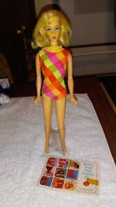 Vintage 1960s Blonde marlo flip BARBIE w/Original Swimsuit/stand/booklet