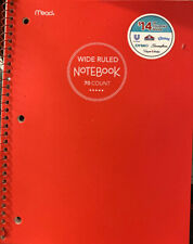 """Lot 2 Mead Notebook Wide Ruled 70 Pages 10.5"""" x 7.5"""" plastic Red front cover"""