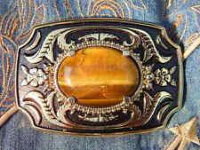 Piedra de ojo Tigres De Oro Artesanal Nuevo Hebilla De Cinturón Dorado/Negro Metal, Western