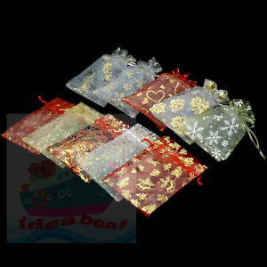 25/50/100PCS Print Pattern 18cmx12cm Organza Jewelry Pouches Wedding Gift Bags