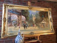 Elegant Mid Century Oil Painting Edwardian Paris Street Scene Fine Antique Frame