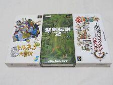 Lot of 3 Chrono Trigger Secret of Mana 2 Toruneko Box Manual sfc snes Famicom