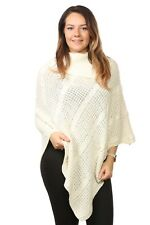 Ladies Women's Plus Sizes Cable Knitted Acrylic Poncho Polo Neck Sweaters Tops