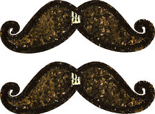 SHWINGS Black Sparkle Mustache clip on Wings for shoes designer NEW 70105