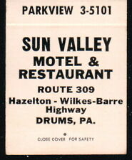 DRUMS PA Sun Valley Motel & Restaurant Vintage Match Book Cover Old Advertising