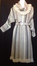 VTG. HOTLINE 'Arlene Murry' Brown/Tan Cotton Blnd long sleeve Fringed Cowl Sz 10