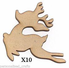 X10 Wooden MDF Christmas Decorations Santa's Reindeer Embellishments Card Making