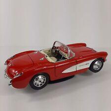 Burago 1957 Chevrolet Corvette Model Car Red White Metal Diecast Made in Italy