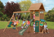 Wooden Play Set Cedar Backyard Swing Sets For Kids Big Clubhouse Outdoor Playset