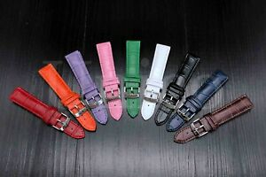 12 - 22 MM Watch Band Strap Genuine Leather Iwatch Alligator Crocodile Wrist USA