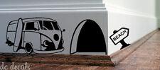 Trou de souris Mur Autocollant Art Autocollant Vinyle Van Surf souris maison plinthes drôle