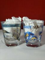 Collectible Shot Glass Lot of 2 Maui Dolphins and Hawaiian Islands
