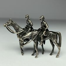 Antique 835 Silver EQUESTRIAN HORSES RIDERS JUMPING FOX HUNT MINIATURE FIGURINE