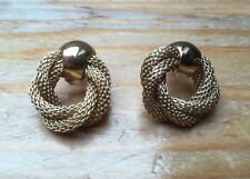 Vintage Gold Tone Knot Earrings/Studs/ Twist Design/Retro Style/1970's/80's