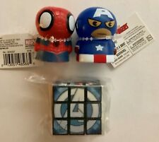 1 Avenger puzzle cube, Spiderman &Captain America Figures -  NEW - FREE SHIPPING