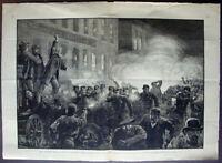 """""""Anarchist Riot in Chicago"""" Haymarket Riot by T. de Thulstrup (1886) ~Original~"""