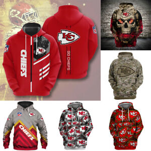 Kansas City Chiefs Hoodies Football Hooded Sweatshirts Pullover Fans Jacket Coat