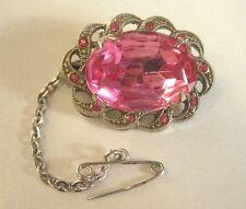 VINTAGE Silver-tone rosa spumante Tiny Strass + gioiello SPILLA di Sicurezza + Perno Catena