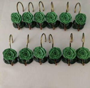 Vintage Green Flower Rose Shower Curtain Hooks - Set of 12