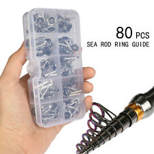 80xFreshwater Fishing Rod Guide Tip Repair Kit Eye Ceramic Ring Stainless steels
