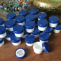 36 White Plastic Jars 1/2oz Blue Screw Caps Speciality Container 3803 DecoJars