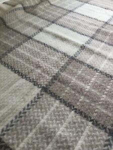 ALAFOSS Icelandic 100% Virgin Wool Blanket 52X76 Fringed Gray Cream Gorgeous