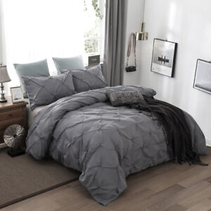 Diamond Pintuck Comforter Doona/Quilt Covers Set Queen King Size Bed Pillowcases