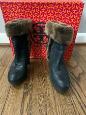 Tory Burch Sebastian Black High Heel Shearling Boots Womens Size 6