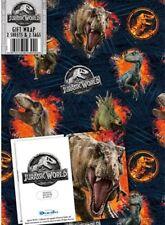 Jurassic World Gift Wrap - 2 Sheets 2 Tags NEW