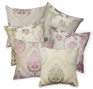 HC Lt Gold Dusty Pink Brown Lake Green Floral Jacquard Cushion Cover/Pillow Case