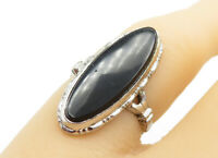 UNCAS 925 Silver - Black Onyx Etched Border Oval Cocktail Ring Sz 4 - R12485