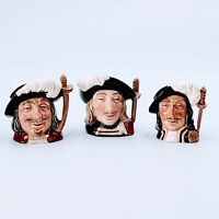 """ROYAL DOULTON 4"""" Tall Toby Mugs The Three Musketeers. Set of 3. Pre-owned."""