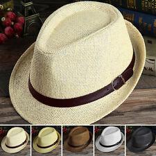 Unisex spiaggia estiva cappello di feltro fedora paglia Panama largo con falda
