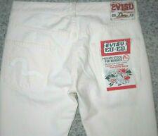 "Evisu EU ED Slightly Distressed Chic Ladies Ivory Jeans > W28"", W33"""