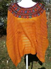 Huipil Mexican Blouse Top Sheer Embroidered Beach Chiapas One Size S M L XL A30