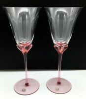 """Pink Stemmed Crystal Goblets Fluted Stems Perfect Pair 9.25"""" Tall Hungary"""