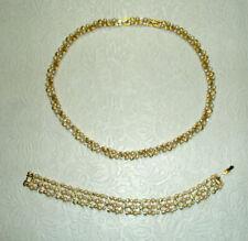 Vintage D'ORLAND Demi Parure Necklace Bracelet Faux Pearls Rhinestones Signed