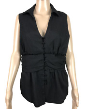 GUESS JEANS | Women's Sleeveless Button Top Blouse | Lined | Black | Size XL