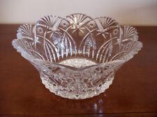 "JG Durand Crystal 9"" Glass Fruit Bowl J.G. Cristal d'Arques France Star of David"
