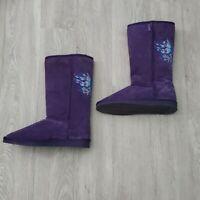 Steve Madden Purple Suede Winter Boots w/Butterfly Detail Size 6