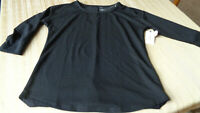 ST JOHNS BAY Woman's active - 3/4 Sleeve BLACK -CREW Neck Top Size M- NWT   $27.