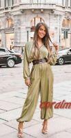 Zara Women Satin-Effect Belted Jumpsuit Olive Green 7484/171 $NO BELT$ XS 1692